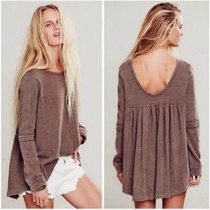 Free People Low Back Shirred Pullover Sweatshirt